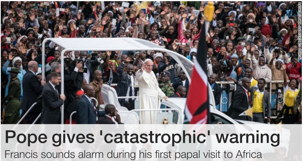 Pope catastrophic warning